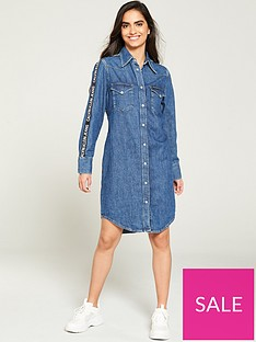 calvin-klein-jeans-western-dress-with-logo-taping-mid-wash