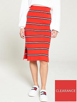 tommy-jeans-knitted-side-split-pencil-skirt-redstripe