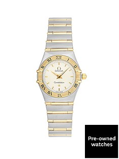 944a7e224a9 OMEGA Omega Pre-Owned Constellation Off-White and Gold Detail Date Dial Two  Tone Stainless Steel Bracelet Ladies Watch