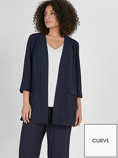 evans-button-detail-crepe-jacket-navy