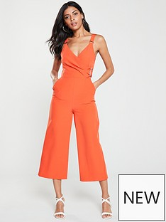 v-by-very-buckle-detail-culotte-jumpsuit-orange