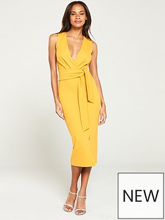 dd8e4cccc82 V by Very Knot Front Stretch Bodycon Dress - Yellow