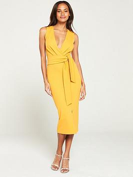 v-by-very-knot-front-stretch-bodycon-dress-yellow