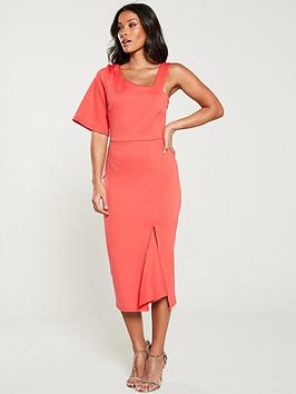 v-by-very-one-shoulder-angel-sleeve-dress-coral