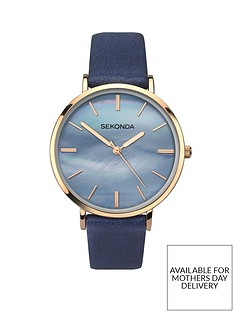 sekonda-sekonda-blue-mother-of-pearl-and-gold-detail-dial-blue-leather-strap-ladies-watch