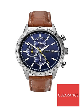 sekonda-sekonda-blue-with-silver-and-yellow-detail-chronograph-dial-brown-leather-strap-mens-watch