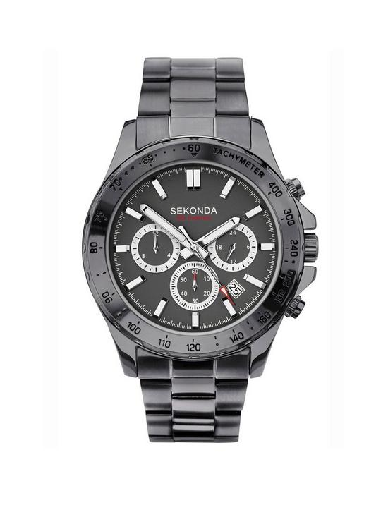 f361fdebf0 Sekonda Sekonda Black and Silver Detail Chronograph Dial Black Stainless Steel  Bracelet Mens Watch