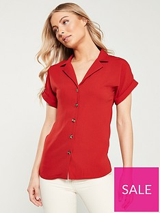 v-by-very-turnback-short-sleeve-casual-shirt-rust