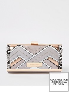 river-island-river-island-panelled-clip-top-purse-light-grey