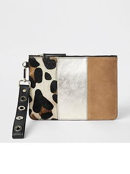 river-island-river-island-leather-mix-panel-mini-pouch-tan