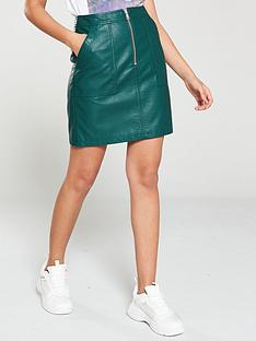 v-by-very-pu-zip-detail-mini-skirt-green