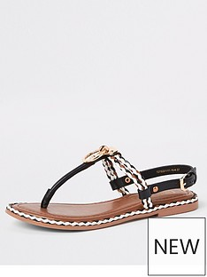 ae7d1705942ee River Island River Island Ring And Rope Leather Sandal - Black