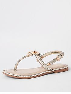 5c9d04081548e River Island River Island Ring And Rope Leather Sandal - Nude