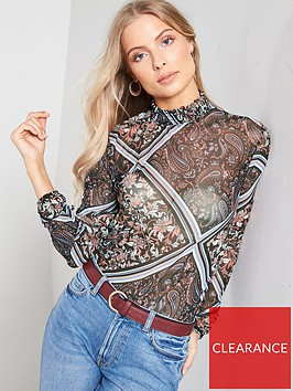 v-by-very-shirred-neck-printed-mesh-top-multi