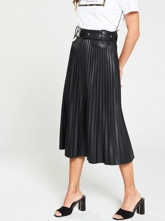 050ca5eb0 River Island River Island Belted Pu Pleated Midi Skirt- Black | very.co.uk