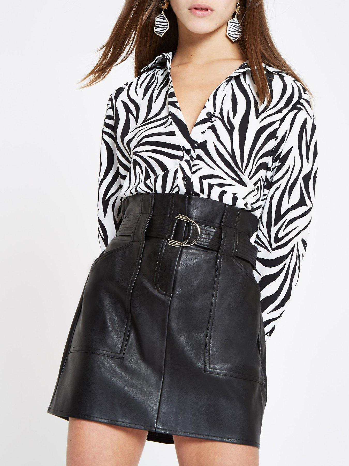 Skirts Women's Clothing Beautiful Black Faux Leather Size 12 River Island Mini Skirt
