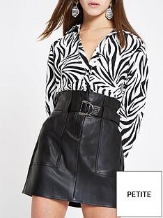 a26547558cc RI Petite Ri Petite Paperbag Waist Pu Mini Skirt- Black
