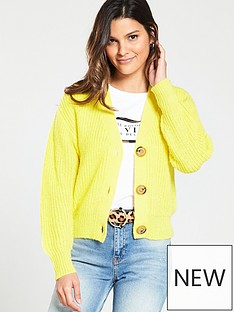 River Island River Island Diamante Button Knitted Cardigan- Yellow 6a4cbcfac