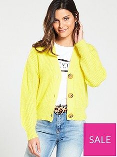 river-island-river-island-diamante-button-knitted-cardigan--yellow