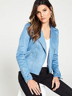 71c4494c6009b River Island Suedette Biker Jacket- Blue