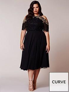 virgos-lounge-curve-embellished-cold-shoulder-skater-midi-dress-black