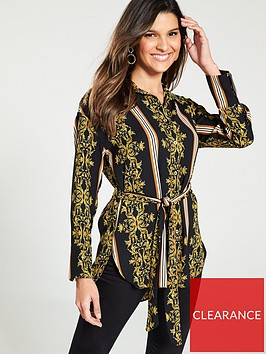river-island-river-island-baroque-print-belted-shirt--black