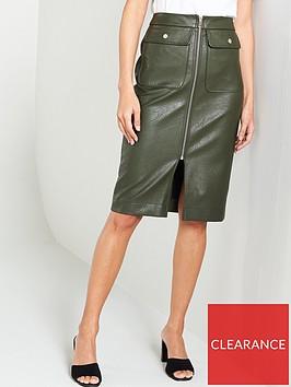 river-island-river-island-zip-front-pu-midi-skirt--black