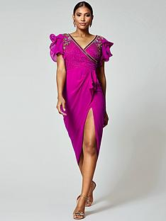 f171a38a Virgos Lounge Virgos Lounge Frill Sleeve Embellished Midi Dress