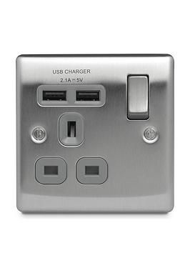 nexus-metal-brushed-steel-single-switched-13a-power-socket-with-usb-charging-2x-usb-sockets-21a