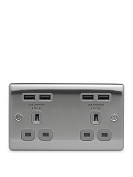 nexus-metal-brushed-steel-double-unswitched-13a-power-socket-with-usb-charging-4x-usb-sockets-42a