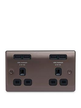 nexus-metal-black-nickel-double-unswitched-13a-power-socket-with-usb-charging-4x-usb-sockets-42a
