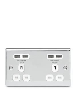 nexus-metal-polished-chrome-double-unswitched-13a-power-socket-with-usb-charging-4x-usb-sockets-42a