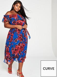 5331ebbe8bf V by Very Curve Curve Bardot Print Chiffon Midi Dress - Floral Print