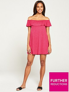 eed4ca9e97c0 V by Very Bandeau Frill Beach Dress - Ruby Pink