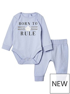 river-island-baby-baby-born-to-rule-bodysuit-set-blue