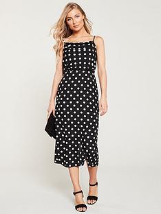 264f17cddf27 Oasis Spot Cowl Neck Midi Dress - Black White