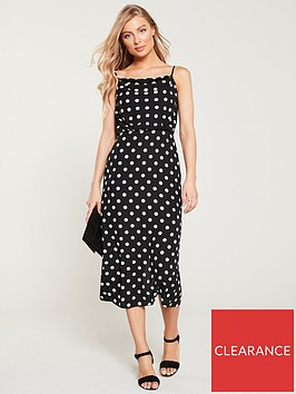oasis-spot-cowl-neck-midi-dress-black-white