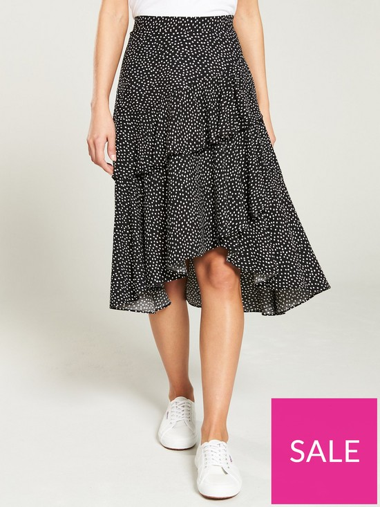 357da26ec5 Oasis Lilly Spot Ruffle Midi Skirt - Multi Black | very.co.uk