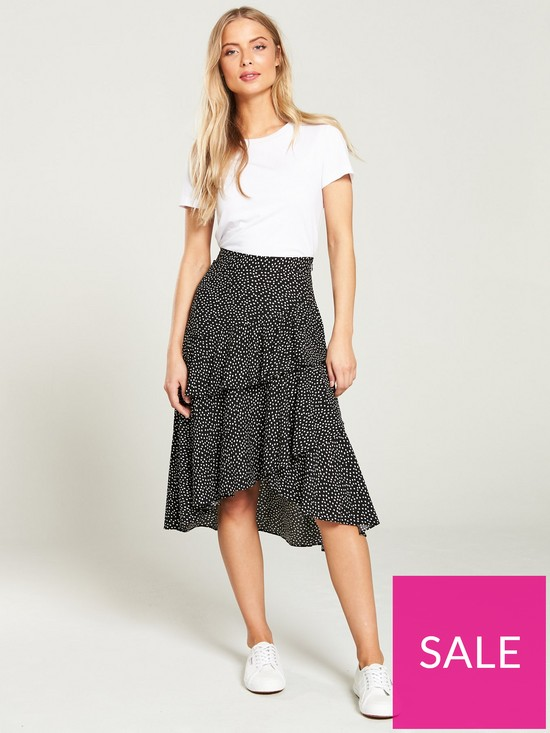 84cbb230ab ... Oasis Lilly Spot Ruffle Midi Skirt - Multi Black. Purchased 7 times in  the last 48 hrs.