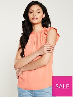 oasis-pleat-neck-casual-shell-top-coral
