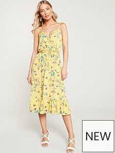 49d79305ee4 Oasis Botanical Floral Ruffle Jersey Wrap Dress - Multi