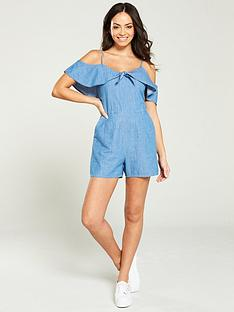 848bb97ead93 Oasis Tie Knot Chambray Playsuit - Denim