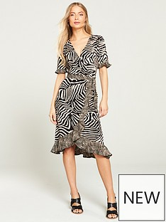 d627950aae Oasis Tiger Ruffle Wrap Skater Dress - Brown