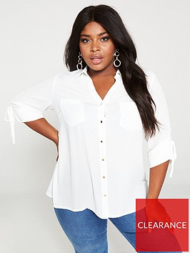 v-by-very-curve-ruched-sleeve-longline-blouse-ivory