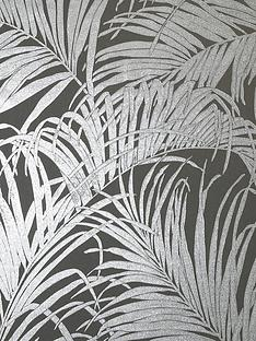 arthouse-kiss-foil-palm-leaf-wallpaper-ndash-grey-gunmetal