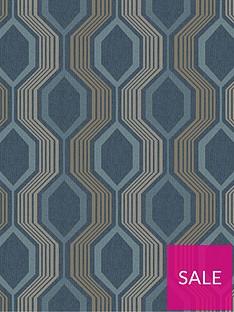 arthouse-hexagon-petrol-blue-wallpaper