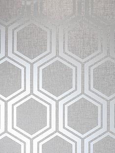 arthouse-luxe-hexagon-silver-wallpaper