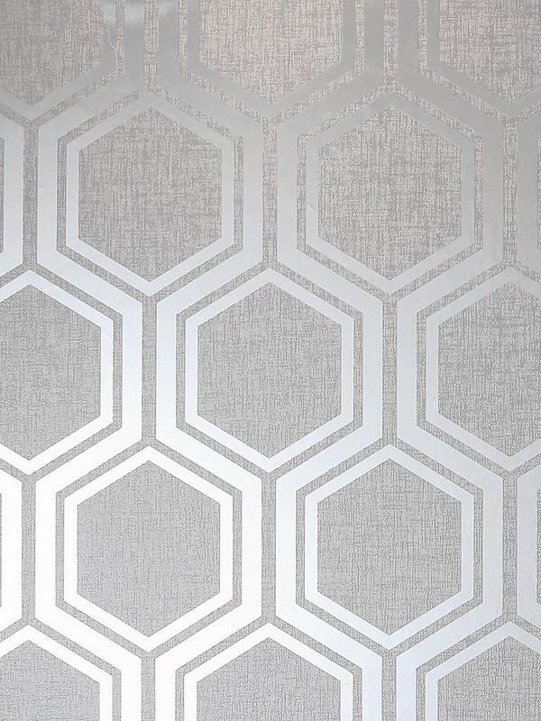 Luxe Hexagon Silver Wallpaper