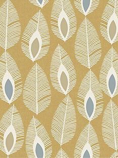 arthouse-glam-feather-ochre-wallpaper