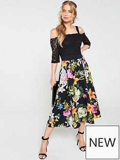 4cbc563ba2e6 V by Very Lace Top Printed Scuba Prom Dress - Black Floral